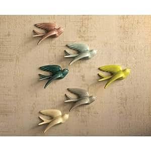 Amazon.com: Kalalou Ceramic Swallows, Set of Six: Wall