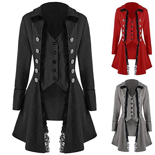 Kobay Uniforme Tailcoat Redingote Gothique Noir Jacket Hommes Costume Dessus Manteau Partie 1rExwIxqYH