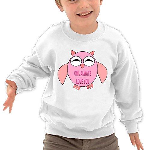 Puppylol Owl Always Love You Kids Classic Crew-Neck Pullover Sweatshirt White 4 Toddler