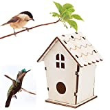 Birdhouse Building, DIY Bird Nest Box Nest House Wooden Birdhouse Box for Blue Tit, Sparrow (Khaki, 11x9cm)