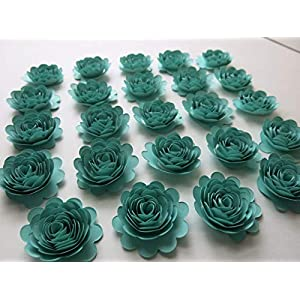 Set of 24 Caribbean Blue Carnations, 1.5 Inch Aquamarine Paper Flowers, 3D Table Runner Scatter, Millinery, Card Making 55