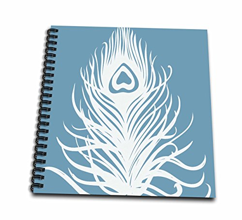 3dRose White Peacock Feather on Teal-Memory Book, 12 by 12