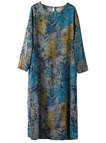 HOOBEE LINEN Women's Long Sleeve Floral Printed Shift Dress with Pockets (Women Older Dresses For)
