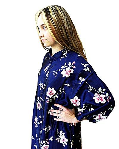 Women's Kaftan Satin Gown With Pink Spring Flower Design, Asian-Style Mandarin Collar Long Length Caftan, Ladies' Kaftan/Robe/Tunic Floral Print, Women's Leisure Clothing, Navy - X-Large.