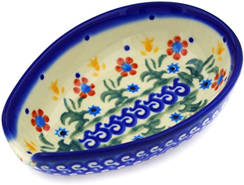 Polish Pottery Spoon Rest 5-inch Spring Flowers (Spoon Stoneware Rest Pottery Polish)