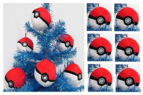 Pokemon 6 Piece Poke Ball Plush Holiday Christmas Ornament Set   Around 2  Tall And Wide