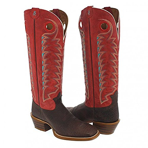 Tony Lama Western Riding Boot - (3R1027) | Color Brown Red | 16-inch Tall 3R Buckaroo Men's Cowboy Boot with a Striking Red Leather ()