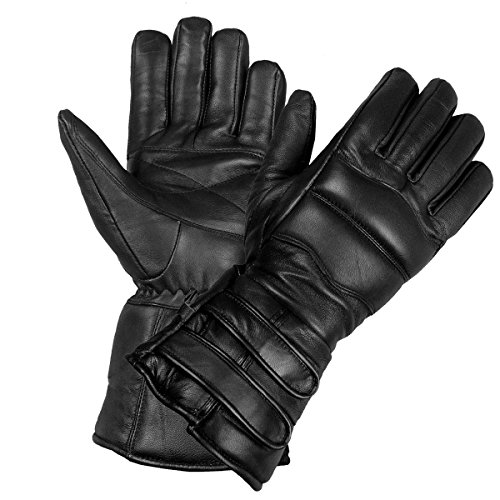 New Mens Thinsulate Sheep Leather Winter Motorcycle Biker Riding Gloves Black XXL - Thinsulate Lining Gauntlet Gloves