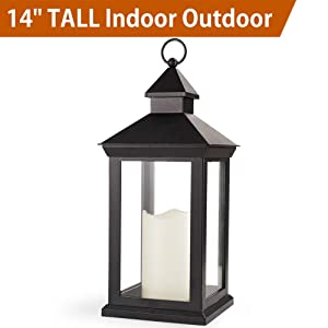"Bright Zeal 14"" Tall Vintage Decorative Lantern with LED Pillar Candle - Outdoor Lantern Waterproof Lanterns Battery Powered Lanterns Decorative Wedding - LED Lantern Black Lanterns with LED Candles"