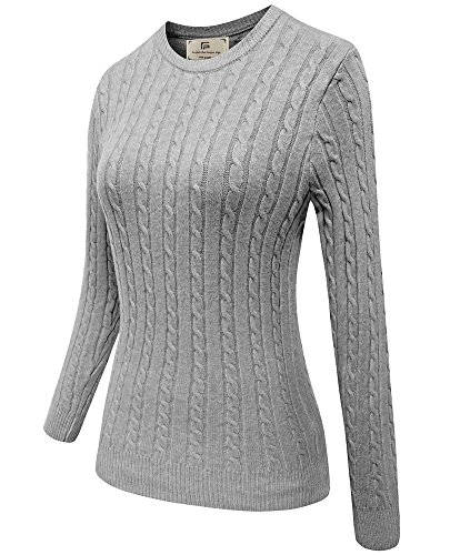 Women Winter Long Sleeve Knit Sweater Foldover Crew Neck Casual Pullover Sweatshirt Grey ()