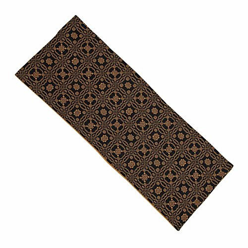 Home Collection by Raghu Lover's Knot Jacquard Black and Mustard Table Runner, 14 by 36'' by Home Collection by Raghu