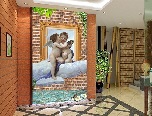 Yosot 3D Wallpaper Custom Photo Wallpaper Living Room Porch Mural Brick Wall Cherub Oil Painting Sofa Background Wallpaper for Wall 3D-450Cmx300Cm (Wallpaper Cherub)