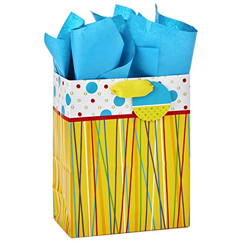 Hallmark Medium Gift Bag with Tissue Paper for Birthdays, Baby Showers or Any Occasion (Yellow with Stripes and Polka Dots)