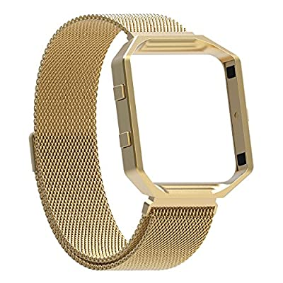Fitbit Blaze Bands with Frame, Austrake Replacement Milanese Loop with Metal Housing for Fitbit Blaze Smart Sports Watch Bracelet for Women Men from Austrake