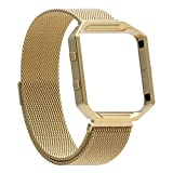 For Fitbit Blaze Bands with Frame, Austrake Replacement Milanese Loop with Metal Housing for Fitbit Blaze Smart Sports Watch Bracelet for Women Men,Large Gold