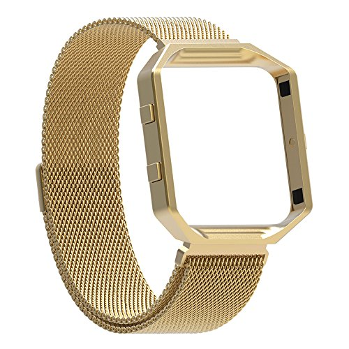 For Fitbit Blaze Bands with Frame, Austrake Replacement Milanese Loop with Metal Housing for Fitbit Blaze Smart Sports Watch Bracelet for Women Men,Large - Size Women's Frame