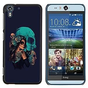 """For HTC Desire Eye ( M910x ) , S-type Gótico del cráneo del azúcar Chica y gato"""" - Arte & diseño plástico duro Fundas Cover Cubre Hard Case Cover"""