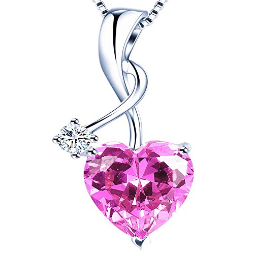 Mabella 925 Silver Simulated Pink Sapphire Gemstone Pendant Heart Necklace,Gifts for Women