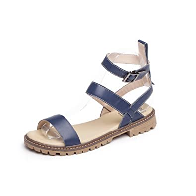 f7f25733872e AllhqFashion Women s Open Round Toe No Heel Cow Leather Solid Sandals with Wrist  Strap