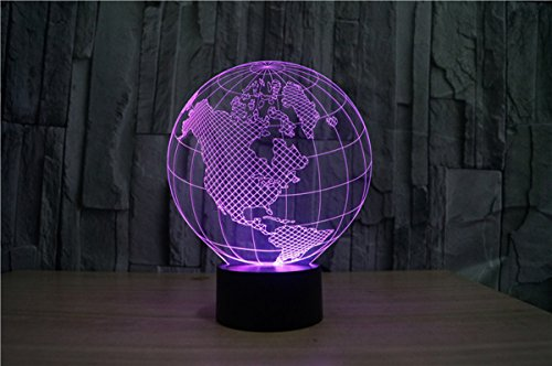 WONFAST® 3D World American Globe Optical Illusion Lighting 7 Colors Change Touch Switch LED Table Lamp Children's Night Light for Home Decoration Household Bedroom by WONFAST (Image #3)'