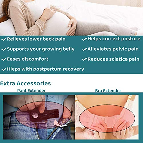 Maternity Belly Band for Pregnancy, Belly Support Belt, That Provides Hip, Pelvic, Lumbar and Lower Back Pain Relief, Maternity Belt Set Inlcudes Pant Extender & Bra Extender