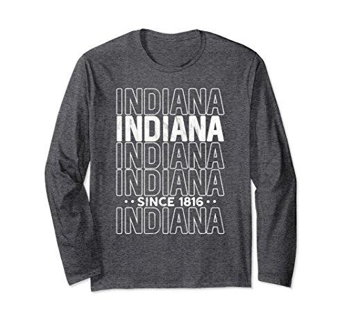 51t3BEWQIVL Unisex Modern Indiana Home State Pride Long Sleeve Shirt : Retro Small Dark Heather