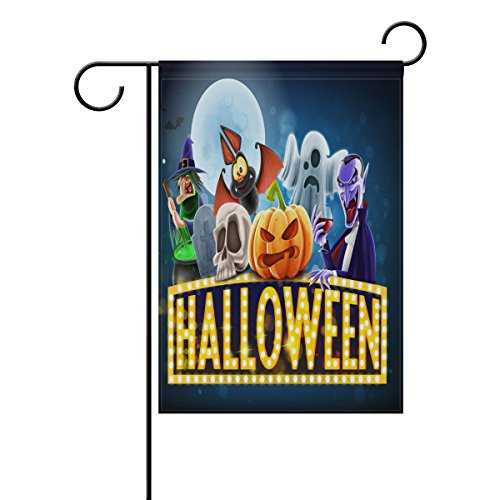 LORVIES Halloween Charaters Polyester Garden Flag Outdoor Flag Home Party Garden Decor, Double Sided, 28