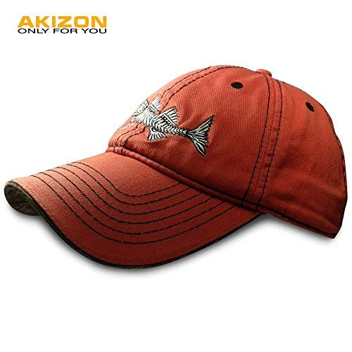 7b44b87ea4669 AKIZON Mens Hats Baseball Cap with Fish Bones - Fishing Hat for Men ...