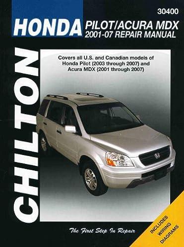 chilton total car care honda pilot acura mdx 01 07 chilton s rh amazon com 2005 Acura MDX Problems 2002 Acura MDX Touring