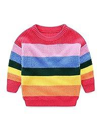 Mud Kingdom Girls Sweaters Cotton Pullover Rainbow Cute