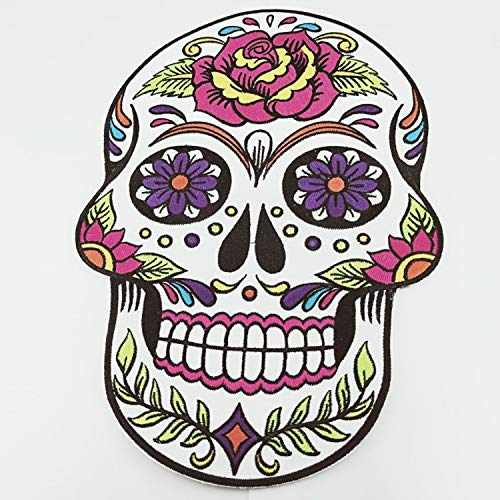 Embroidered Patch Large Skull Biker Hippie Jumbo Iron Floral Sugar Cross Christian Flowers Dead Skeleton Motorcycle Flame Chopper Devil New Flaming Smile Hippie Hot Appliqued On Jacket Jeans 7