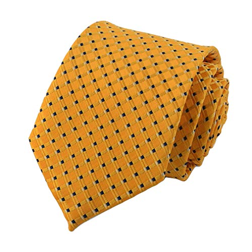 Gold Yellow Dot (MOHSLEE Classic Necktie Yellow Blue Polka Dots Stripe Woven Jacquard Neck Ties)