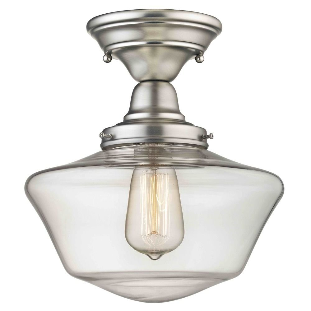 10-Inch Clear Glass Schoolhouse Semi-Flush Ceiling Light in Satin Nickel