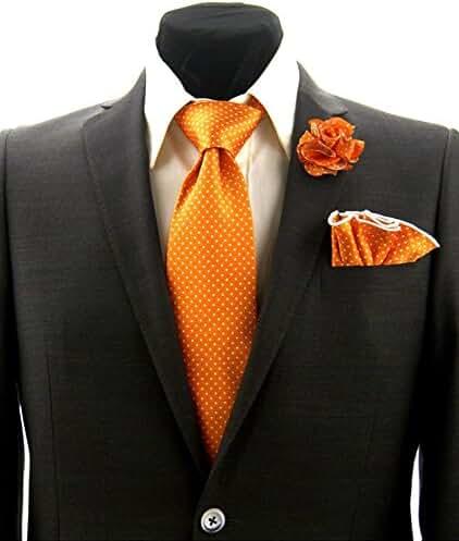 Mens Orange & White Polka Dot Necktie Tie, Round Pocket Square and Lapel Pin Box Set