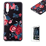 Funyye Relief Rubber Case for Huawei P20,Stylish Red Flowers Pattern Soft Silicone TPU Gel Cover for Huawei P20,Slim Fit Shockproof Non Slip Back Cover Smart Shell Protective Case for Huawei P20 + 1 x Free Screen Protector