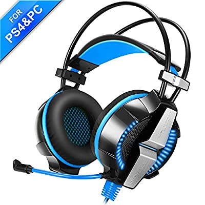 Gaming Headset, AOSO GS700 Gaming Headsets with Microphone for PS4 PC Laptop Computer 3.5mm USB 2.0 Over Ear Headphones Headsets with In-Line Volume Control LED Light 6.9ft Long Cable from AOSO