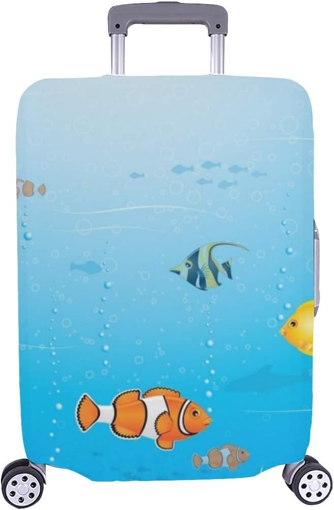 Sea Life Scene Underdex Cofre ilustrado Maleta de Viaje Maleta Protectora de Viaje Maleta Cubierta 28.5 x 20.5 Pulgadas
