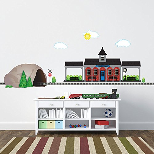 Rr Tracks (Train Station and Tunnel with Straight RR Track Movable Mural Wall Decals (Repositionable) Peel and Stick! Color 1)