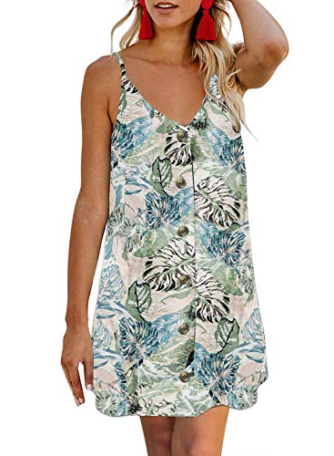AlvaQ Women Mini Short Dress Floral Printed Summer Casual Button Down V Neck Sleeveless A Line Flowy Swing Skater Dresses Sky Blue Medium