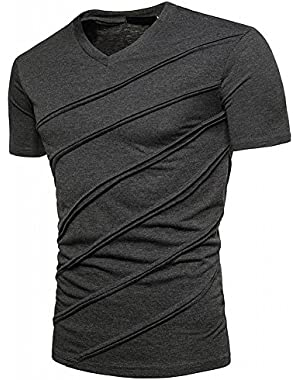 Retro Men's Casual Zipper Short Sleeve Striped T-Shirts,Summer Fashion Cotton Solid V Neck Tee