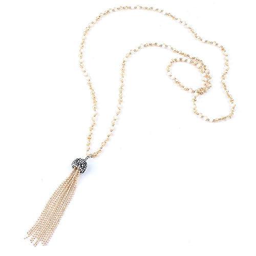 7eb00901055c FM42 - Collar largo con cuentas de cristal facetadas multicolor y borla   Amazon.es  Joyería