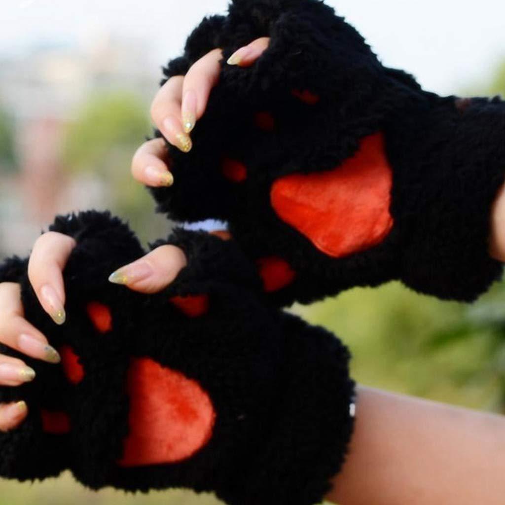 chenpaif Frauen M/ädchen Sch/öne Katze Pfote Klaue Dicke Halb Fingerlose Handschuhe Fluffy Pl/üsch Handschuh Armee Gr/ün