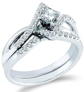 Amazon.com: Size - 9.5 - 14k White Gold Diamond Ladies