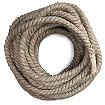 Image of Cord & Webbing Crown Sporting Goods Jute Twine Fitness Tug of War Rope with Leather Ends in 8, 20, 1.3 Inch Thickness, 52, 72, 98, 118 Feet Length