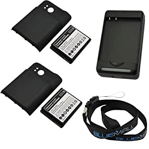 GTMax 2x Extended 3500mAh Battery with Gray Cover + Battery Charger + Neck Strap Lanyard For HTC ThunderBolt (Incredible HD 6400)