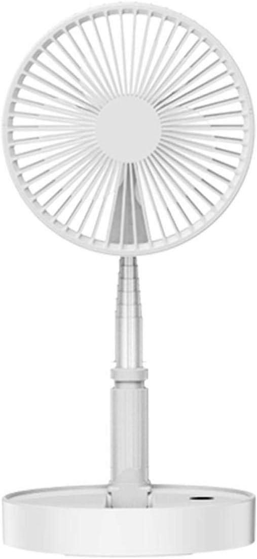 Color : White HAIMEI-WU USB Portable Fold Telescopic Fan Multi-Function Desktop Floor One Fan Mini Electric Fan