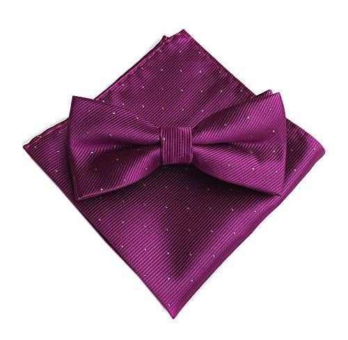 Mens Purple RED Silk Cravat Woven Vintage Bow Ties Hanky Handkerchief Neckties