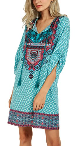 Femmes GoCo Shirt 4 Mini Tunique Hauts Vintage 2 Robe Chemise Bohmien 3 Tops Imprim Manches Robe Urban d5vzSZpq5