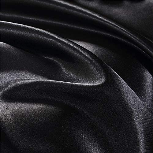 Blanc Noir Literie King Double Taille en Satin de Soie d'été utilisé Lit Simple Linge Chine literie de Kit Housse de Couette (Color : Type 15, Size : UKDouble 3pcs)