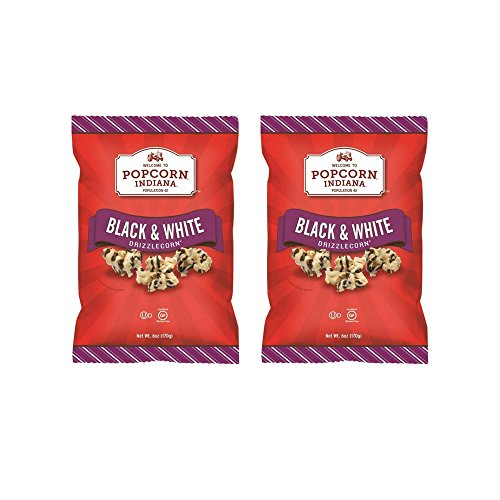 Popcorn Indiana Black and White Drizzle Corn Popcorn, 6 Ounce (2 PACK)